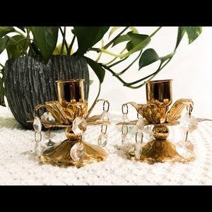 Gold coloured candle holders with crystals